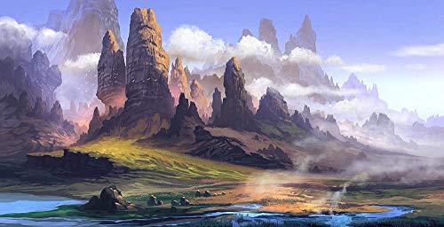 Pintura por número kit de pintura para adultos y niños decoración del hogar pintura al óleo mejor regalo de vacaciones (sin marco) - Paisaje de montaña Arte de fantasía
