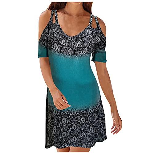 Vestido de hombro frío para mujer estilo étnico impreso tirantes cuello en V vestido de tirantes Midi falda vintage casual vestido corto