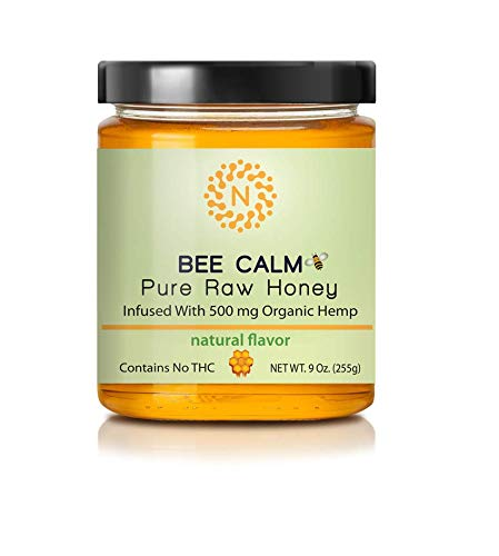 Bee Calm - 100 % Natural Unfiltered Honey! 9 oz Glass Jar of Raw honey infused with 500 mg Organic Hemp. Helps with Pain Relief, Reduces Inflammation & Anxiety, Promotes Deep Sleep (Raw)