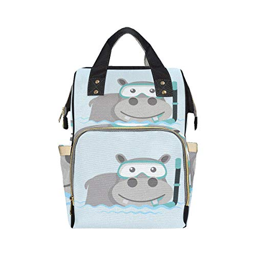 Big Swimming Hippo Lovely Animal Diaper Bags Backpack Mom Dad Changing Large Capacity Multi-function Backpack Bag Diaper For Baby Girl Boy