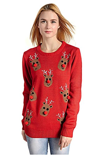 V28 Women's Christmas Reindeer Snowflakes Sweater Pullover (Tag M (US size 8), Red-3D-Nose)