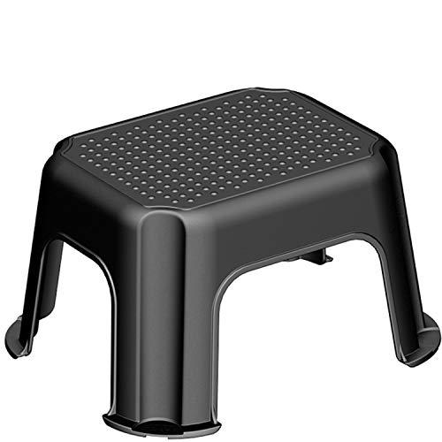 Rotho Basic Tritthocker bis 150 kg belastbar, Kunststoff (PP) BPA-frei, schwarz/silber, 43,1 x 35,8 x 23,8 cm