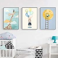 かわいいキリンドリームムーンウォールアートキャンバス絵画モダンな漫画のポスターとプリント壁の写真子供部屋の装飾-40x50cmフレームなし