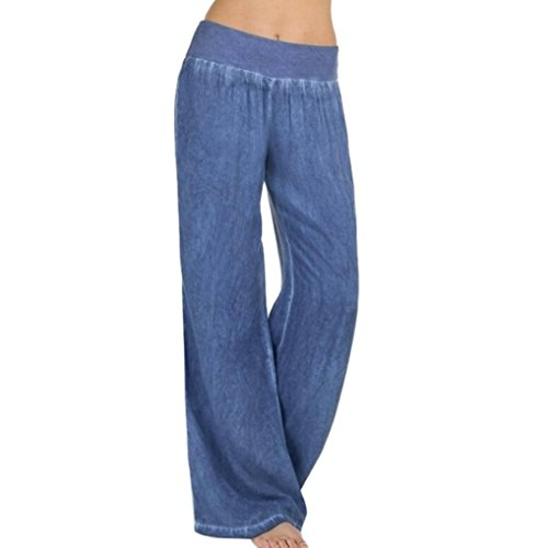 Hosen Damen Kolylong® Frauen Elegant Denim Weite Hosen Hohe Taille Elastische Jeanshose Loose Beiläufig Lang Hosen Sport Yoga Hosen Leggings (S, Blau)