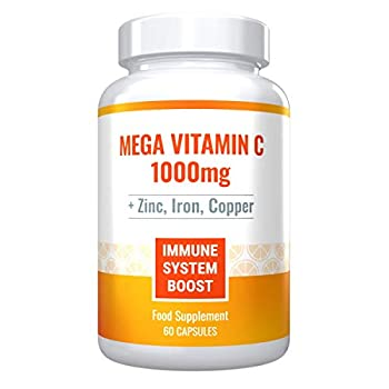Mega Vitamin C 1000mg Plus Zinc Iron and Copper Powerful Immune System Boost Sugar-Free Gluten-Free 60 Capsules - 1 Month Supply.