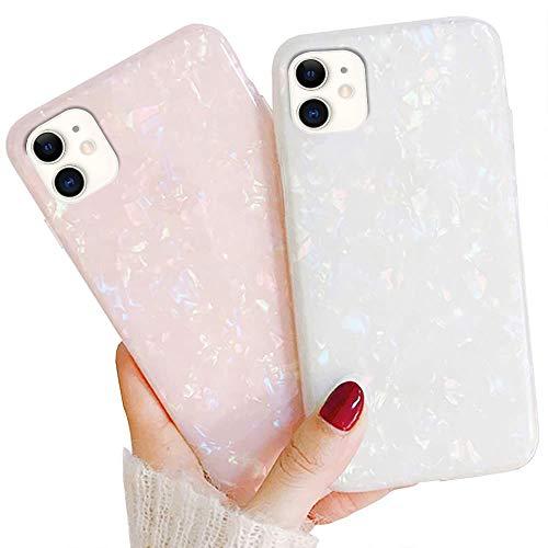 LLZ.COQUE 2 Pack Hülle für iPhone 11 Case Muschel Handyhülle Ultradünn Schutzhülle Abdeckung Flexible TPU Bumper Case für iPhone 11 Cover Anti Kratzer Rosa&Bunt