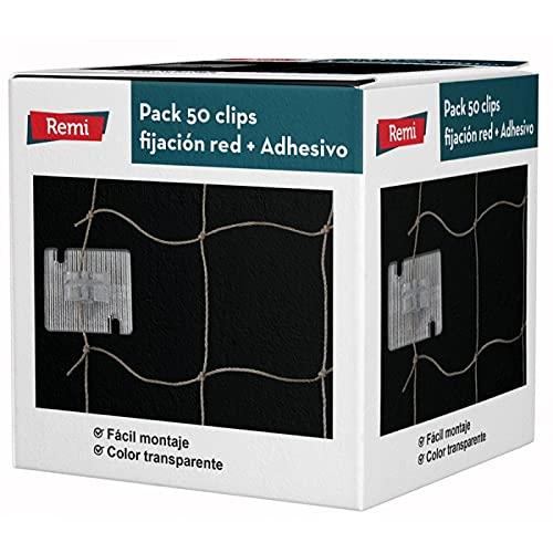 Remi Hogar 50 Clips fijación Red + Adhesivo | para Redes balcón | Anti Aves y Gatos