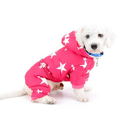 SMALLLEE_LUCKY_STORE Pet Stars Belted Snowsuit Fleece Lined Winter Hoodie Coat Jumpsuit for Small Dogs Cat Boy Girl Water-Resistant Ski Jacket Warm Puppy Clothes,Pink S