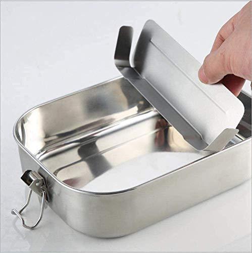 Amitd Eco Lunchbox, edelstaal, lunchbox, 1400 ml, grote capaciteit, inclusief Flexibele scheidingswand 100% BPA vrij roestvrij staal Bento Box voor uitstapjes