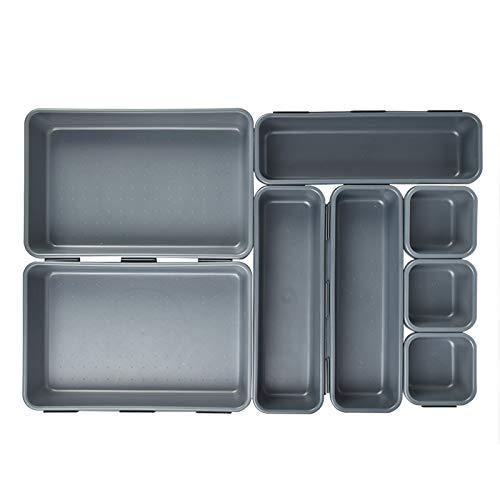 TIMESETL 8Pcs Organizador de cajones, Cajas Bandejas de Plástico Apilables Almacenamiento para Cajones, Escritorio, Cocina, Baño, Maquillaje, Armario