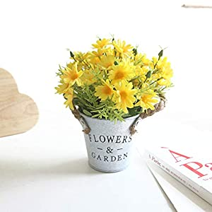 Charmly Artificial Flowers Potted European Style Design Silk Daisy Arrangements Bonsai House Office Restaurant Table Centerpieces Windowsill Decor Daisy-Spring Yellow
