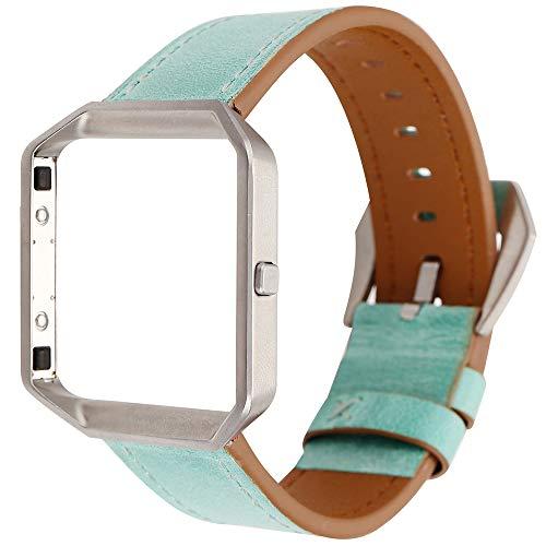 LUONE Ersatz-Armband, Frischer Wind Lederarmbanduhr Armband Kompatibel mit Fitbit Blaze Uhrenarmband Quick Release Sport Uhrenarmbänder,Grün