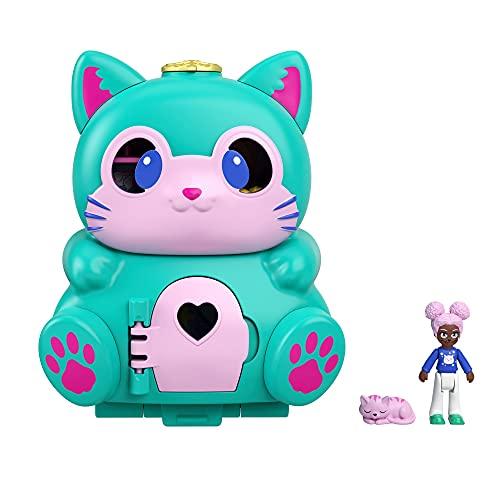 Polly Pocket GTM61 - Drehspaß-Schatulle Katze, zwei Spieloberflächen durch Umklappfunktion, Katzenfigur, ab 4 Jahren