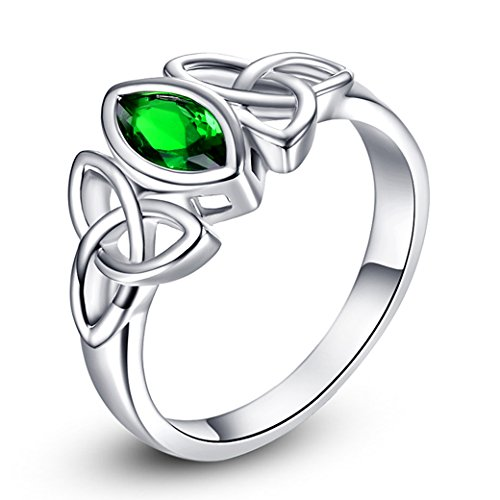 Narica Women's Elegant Marquise Shaped Created Emerald Quartz Triquetra Celtic Knot CZ Engagement Ring Band Size 6