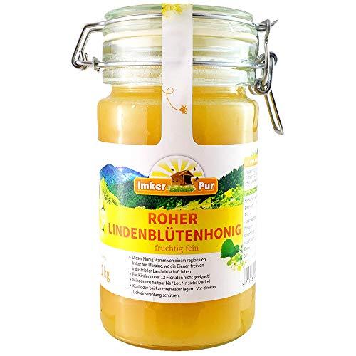 Roher Lindenblüten-Honig von ImkerPur, ungefiltert, nicht geschleudert oder erhitzt, enthält Blütenpollen, Bienenwachs, Propolis, Bienenbrot und Gelee Royal (1000 g Roher Lindenhonig)