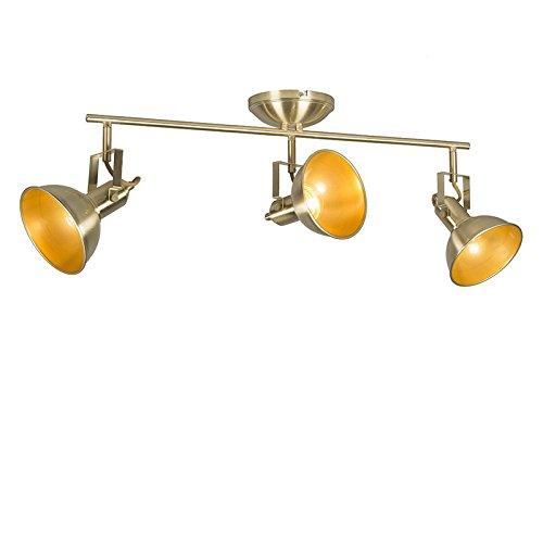 QAZQA rústico Plafón dorado/latón orientable 3-luces - TOMMY Metálica Alargada Adecuado para...