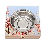 Mesa elevada de bambú para mascotas con cuencos levantados antideslizante para gatos Perros Alimentos Flor Roja Blanca 02 Bebida Alimentación y Buena Digestión Para Mascotas