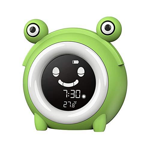 CHUNGEBS Lindo Reloj de Alarma de luz de la Noche, Reloj de la Tabla de Reloj de Pantalla Digital de despierte con Pantalla de Temperatura, Reloj de lámpara de música Inteligente de Brillo Ajustable