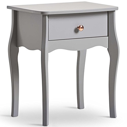 Beautify Grey Bedside Table – Wooden Nightstand End Table with 1-Drawer Storage – Vintage Style Bedside Cabinet with Rose Gold Handle for Bedroom, Home Office, Living Room