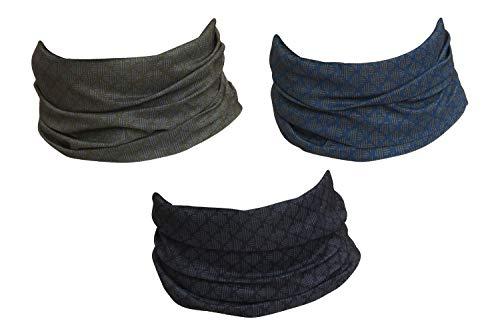 Hilltop 3 x Motorrad Multifunktionstuch, Schlauchtuch, Sport-Halstuch, Bandana / 3-er Set in aktuellen Designs, 3er Set:Black Blue Wallpaper