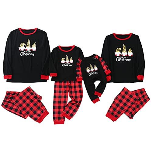 Alueeu Conjuntos Navideños de Algodón para Mujeres Hombres Niño Bebé Ropa para Dormir Otoño Invierno Sudadera Chándal Suéter Casual Homewear