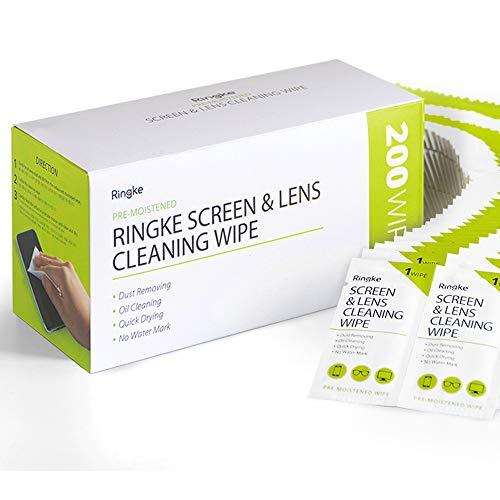 Ringke Toallitas de Limpieza para Lentes (Screen and Lens Cleaning Wipes), Toallitas con Alcohol para Pantalla de Teléfono Móvil, Cámara, Gafas, Relojes, y Más - 200 Unidades