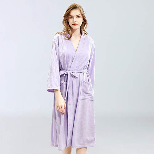 ROirEMJ Damen Bademantel,Frauen Bademantel Waffel Dusche Lila Sleepwear Nachthemden...
