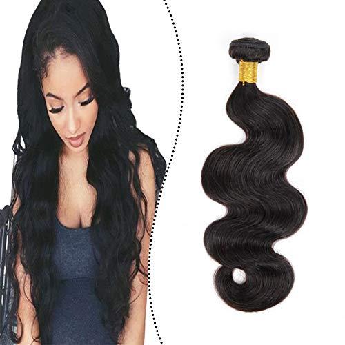 Ugeat Haar Extensions Tressen 70 cm Body Wave Remy Echthaar Weaving Haarverlangerung Verdichtung 100GR Bundle Welle Sew in Human Hair Naturliches Schwarz