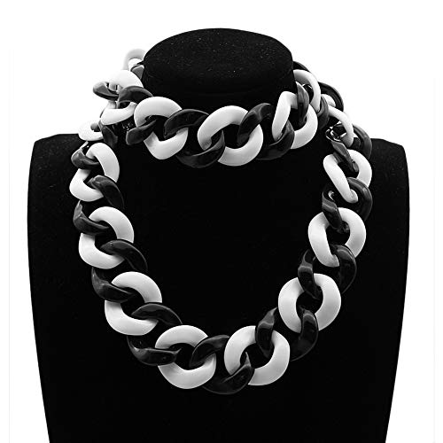 NICEWL Acryl Kubanische Kette Chunky Choker Für Frauen,Mode Hip Hop Punk Resin Schnalle Link Anhänger Kragen,Handgemachte Schlüsselbein Kette Statement Halskette,A