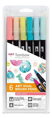 Tombow ABT-6P-4 Lot de 6 feutres pinceau ABT à deux pointes, couleurs candy