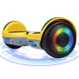 Huanhui Skateboard Électrique 6.5 Pouces Puissance 600W avec LED, Gyropode Auto-Équilibrage de Bonne qualité pour Enfants et Adultes (Jaune-Bluetooth)