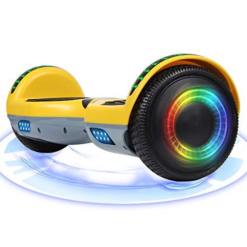 "Huanhui Hoverboard, 6.5\"" Self Balance Scooter con luci a LED Altoparlante Bluetooth Ruote Lampeggianti Segway, Regalo per Bambini e Adulti"