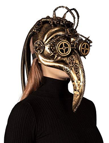 shoperama Steampunk Maske futuristischer Pest Doktor Antikgold Goggles Zahnräder Schläuche Spikes Schnabel Vogel