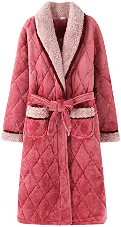 Women's Plush Robe, Long Section Flannel Warm Bathrobe Soft Shawl Collar Sleepwear Nightwear for Ladies Autumn and Winter Sleep, Bathing, Pink