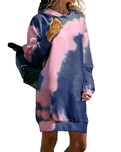 Kidsform Damen Kapuzenpullover Pullover Hoodie Lange Tops Langarm Sweatshirt Casual Täglich Herbst Pulli Kleider Sweatjacke Jumper H-Dunkelblau M