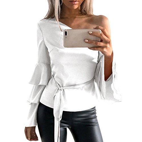 Siswong Camiseta Blusa Manga Larga de Volantes Blusa Playa Hombros Descubiertos Elegante Tops Mujer Fiesta Noche (Blanco, L)