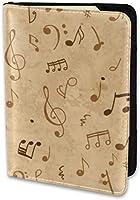 パスポートホルダーレザーカバートラベルパスポートケース、3枚のカードスロットミュージカルグランジ