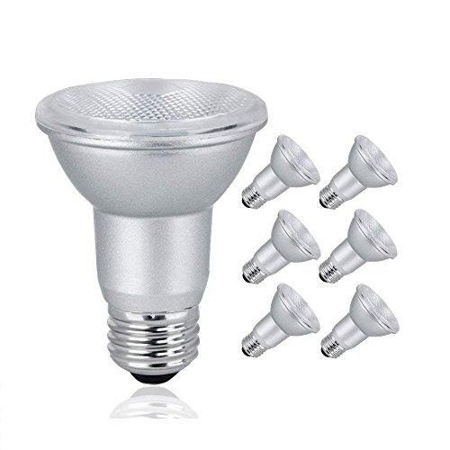 LED PAR20 Dimmable Flood Light Bulb, 7 Watt (50W Equivalent), 500 Lumens, 3000K Soft White, 120V, Indoor/Outdoor, Energy Star Certified, UL Listed (6 Pack)