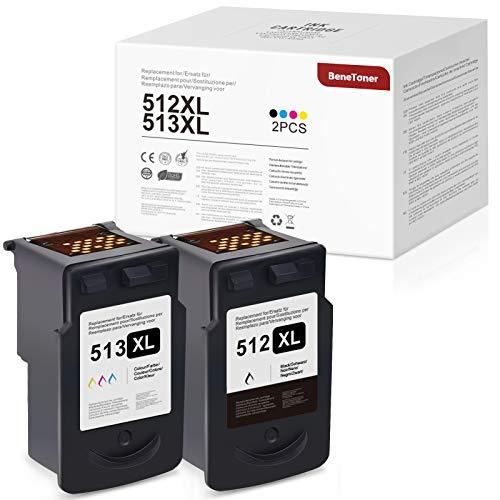 BeneToner 512XL 513XL - Cartuchos de tinta compatibles para Canon 512XL 513XL para Canon Pixma MP260, MP270 y MP272, color negro y multicolor