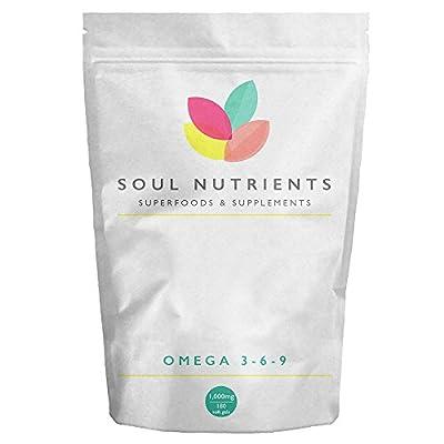 Omega 3-6-9 1000mg 180 Soft Gel Capsules- High Strength 1000mg - 180 Fatty Acids and EPA & DHA & ALA Vital Essential Fatty acids with Vitamin E- UK Manufactured