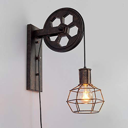 Polea lámpara de pared industrial mediados de siglo retro hierro luces de pared características de la jaula de hierro mate pantalla de lámpara para interior y exterior iluminación granero restaurante