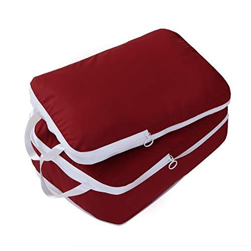 圧縮できるトラベルポーチ 超軽量 大容量 Lサイズ 2点セット 旅行 出張 スーツケース整理 衣類収納 ファスナー圧縮 スペース節約 パッキングキューブ (レッド)