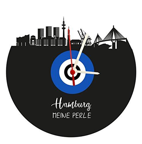 Wanduhr Hamburg Skyline,blau-weiß, Fußballuhr, Vinyluhr/Schallplattenuhr mit Quarzwerk