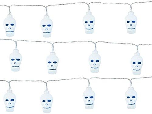 Neu LED Lichterkette Kürbis Totenkopf Happy Halloween, 2 Meter lang - Girlande Kürbis Totenkopf Wimpelkette, LED-Effekt - Banner Deko Horror Dekoration (GIR-02 Totenkopf weiß)