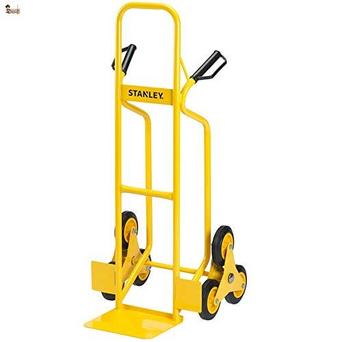 BricoLoco Carretilla escaleras. Sube y salva escalones. Para subir y bajar carga hasta 200 kgs. Tres ruedas. Robusta y resistente. Chásis de acero. Mango con protección nudillos.