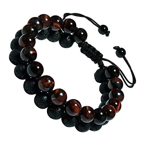 Cat Eye Jewels Mens Lava Stone Bracelet 8mm Double Layered Red Tiger Eye Beads Bracelet Energy Healing Adjustable Beaded Bracelets for Men Women Boys B002
