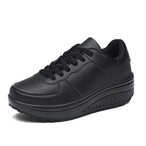 Zapatillas Deportivas Mujer Calzado Deportivo para Adelgazar y Elásticas Zapatos de Plataforma de Cuña de Fitness Zapatos Casuales Zapatillas de Andar Antideslizantes Portátiles Cómodas Negro, 38 EU