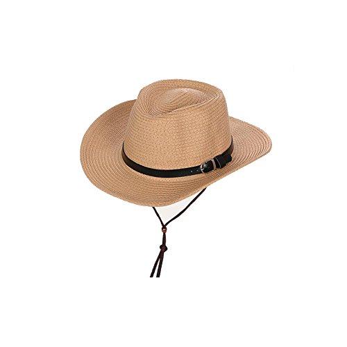 NYDZDM Sombrero de sol para niños al aire libre de verano para hombres de pesca, paja de protección solar con banda de barbilla (color: caqui, tamaño: 56 – 58 cm)