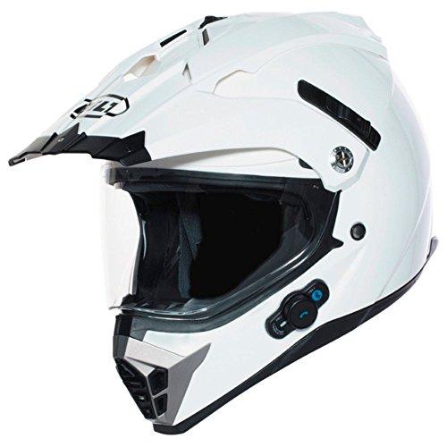BILT Techno Bluetooth Adventure Motorcycle Helmet - LG, White