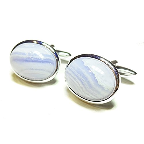 The Black Cat Jewellery Store Boutons De Manchette Semi-précieuses - Agate Bleue Lacet